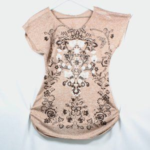 Agenda Womens T Shirt Floral Tan Jewel T Shirt
